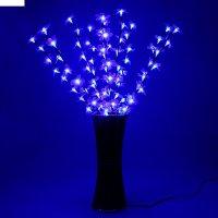 Светодиодная ваза 80х16 см, цветок сакуры 72 led, 220v, фиксин, синий