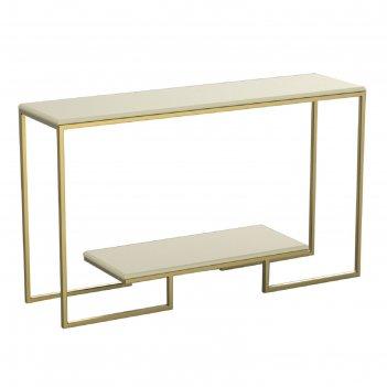 Консоль designo ножки металл золото столешница слоновая кость, 130х35х78см