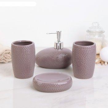 Набор для ванной камни, 4 предмета: мыльница, дозатор для мыла, 2 стакана,