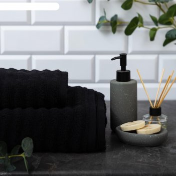 Полотенце махровое этель waves чёрный, 70х130 см, 100% хлопок, 460 гр/м2