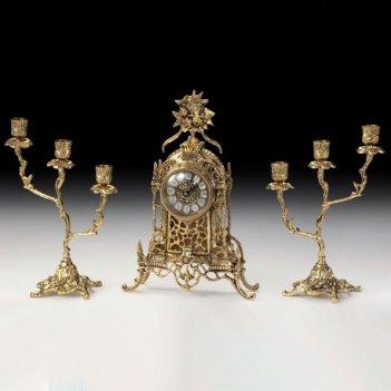 Часы каминные соборные цветы с канделябрами на 3 свечи, набор из 3 предм.