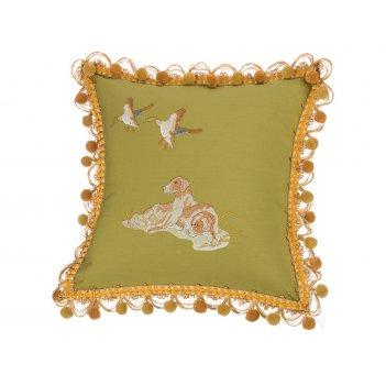 Подушка декоративная  охота 45х45, зелёная, вышивка.