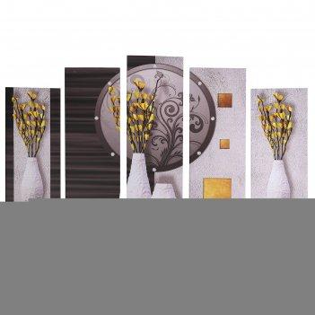 Модульная картина жёлтые цветочки (2-23х52; 2-24х70; 1-24х80) 120х80см