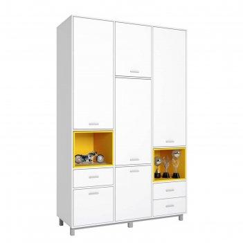 Шкаф трехсекционный polini kids mirum 2335, белый/жёлтый