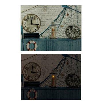Часы настенные морское приключение с led подсветкой 40*30*2см