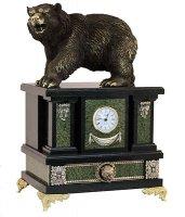 Каминные часы медведь камень змеевик, статуэтка бронза арт.3