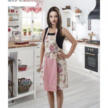 Фартук кухонный karna с салфеткой 30x50 см, 360 г/м2, цвет розовый