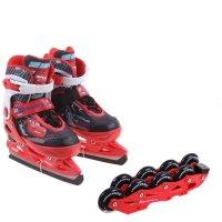 Коньки ледовые, детскиетачки с роликовой платформой abec-7, размер 33-36 в