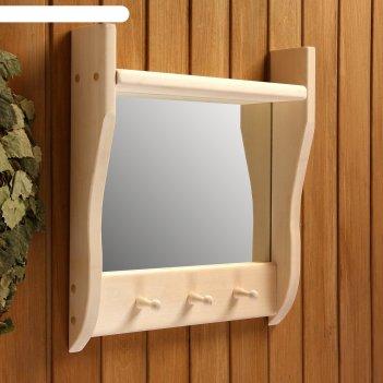 Зеркало резное с 1 полкой и 3 крючками, 45x50x10 см