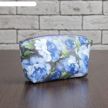 Сумка-косметичка цветок, отдел на молнии, цвет синий