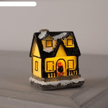 Фигура керамическая световая домик зимний 6 см, 1 led, ag13*2, т/белый