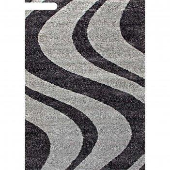 Прямоугольный ковёр platinum t617, 80x150 см, цвет gray-black