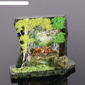 Сувенир-скол лес, змеевик, каменная крошка