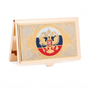 Визитница герб рф с эмалью
