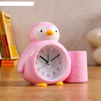 Будильник пингвинёнок, с карандашницей, микс