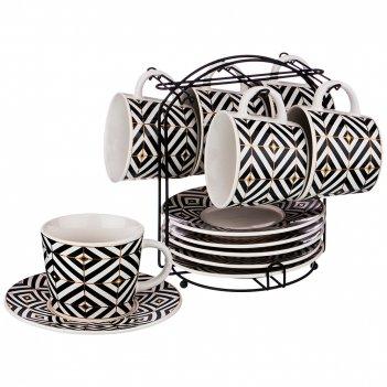 Чайный набор на 6 персон 12 пр. на подставке коллекция black & white 2