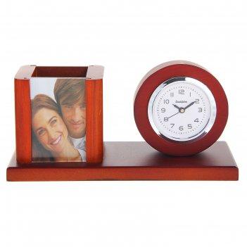 Набор настольный 3в1: часы, подставка п/ручки, фоторамка (7х5), 19,5*10,5с