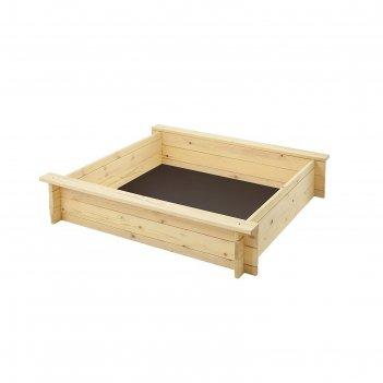 Песочница деревянная алладин, 110 х 110 х 25 см., 2 лавки, подложка