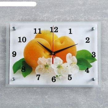 Часы настенные, серия: кухня, абрикосы с цветами, 25х35  см, микс