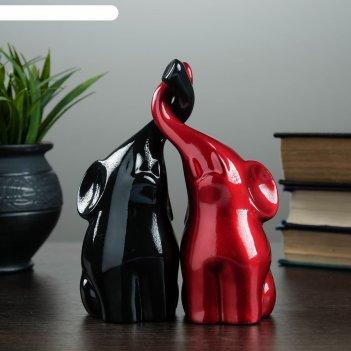 Фигура пара слонов черный + бордовый глянец 7х12х16см