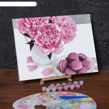 Картина по номерам на холсте с подрамником «макаруны и цветы», 40х30 см