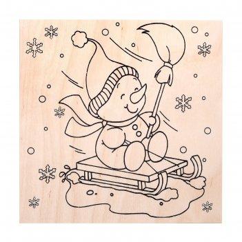 Доска для выжигания новогодняя снеговик