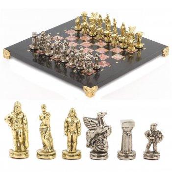 Шахматы спартанцы доска 280х280 мм лемезит змеевик металл