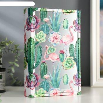 Шкатулка-книга дерево кожзам фламинго и суккуленты зеркало 26х17,5х5 см