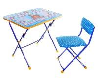 Набор детской мебели маша и медведь. азбука складной: стол, мягкий стул и