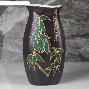 Ваза настольная орион, бамбук, коричневая, 29 см