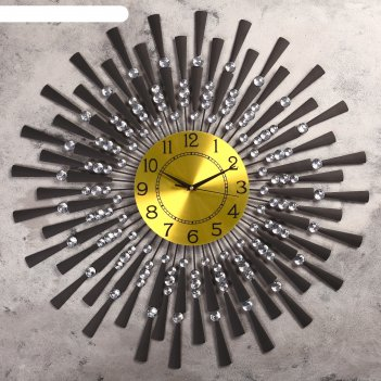 Часы настенные, серия ажур «чёрные лучики», маленькие кристаллы, d=68 см