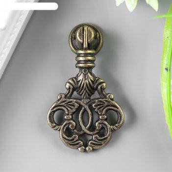Ручка для шкатулки металл растительный орнамент бронза 5,8х2,8 см