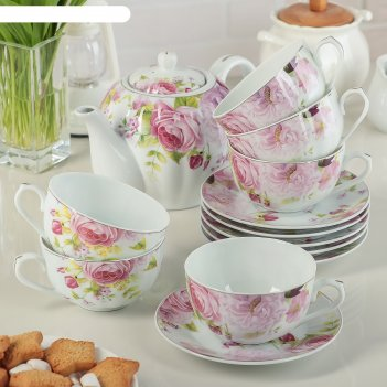 Сервиз чайный вдохновение, 13 предметов: 6 чашек 250 мл, 6 блюдец, чайник