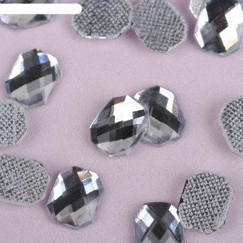 Стразы термоклеевые «прямоугольник», 8 x 10 мм, 50 шт, цвет белый
