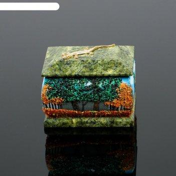 Шкатулка осень рисованная с ящеркой 6х8 см 122216 серпент змеевик