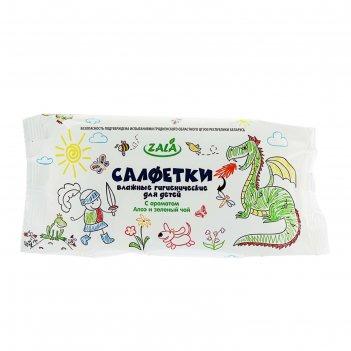 Влажные салфетки zala для детей, с экстрактом алое и зеленого чая, 60 шт.