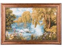 Гобеленовая картина лебединая семья 63х44см.