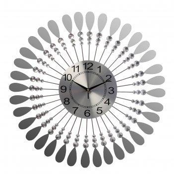 Часы настенные серии ажур зеркальные лепестки и стразы d=61 см