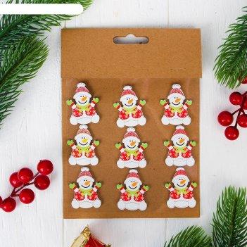 Новогодний декор-наклейки снеговик, набор 9 шт.