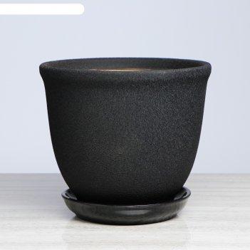 Цветочный горшок глория 14 л, чёрный, шёлк (1сорт)