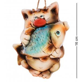 Аб-102 панно керамическое кот с рыбой