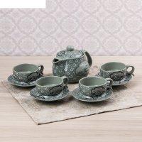 Набор чайный поляна цветов, 9 предметов: чайник 280 мл, кружка 6,5 см, 50