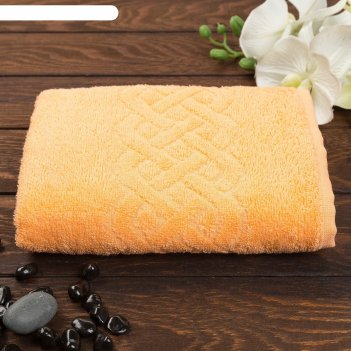 Полотенце махровое жаккард plait, размер 70х130 см, 350 гр/м2, цвет оранже
