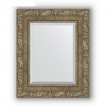 Зеркало с фацетом в багетной раме - виньетка античная латунь 85 мм, 45 х 5