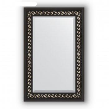 Зеркало с фацетом в багетной раме - черный ардеко 81 мм, 55 х 85 см, evofo