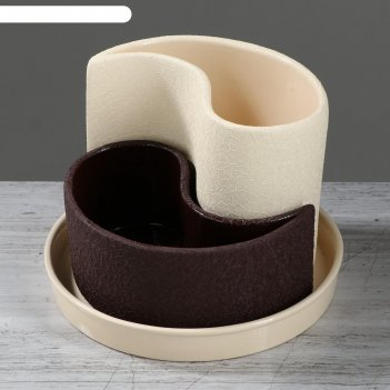 Набор кашпо 2шт. капля шёлк, бежево-шоколадное 0,7 л/ 1,3 л