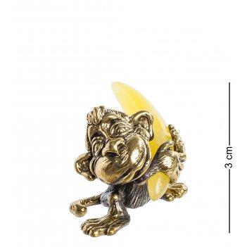 Am-1143 фигурка обезьяна манки с бананом (латунь, янтарь)