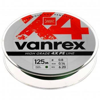 Леска  плетёная lucky john vanrex х4 braid moss green 125 м, 0,14 мм