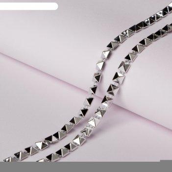 Тесьма металлизированная «квадрат», 5 x 5 мм, 5,5 ± 0,5 м, цвет серебряный
