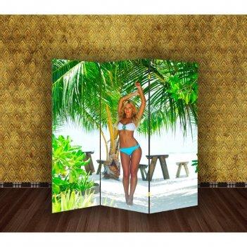 Ширма девушка на пляже, 160 x 150 см
